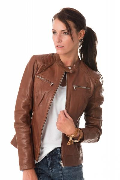 Blouson col motard femme en cuir d'agneau              title=