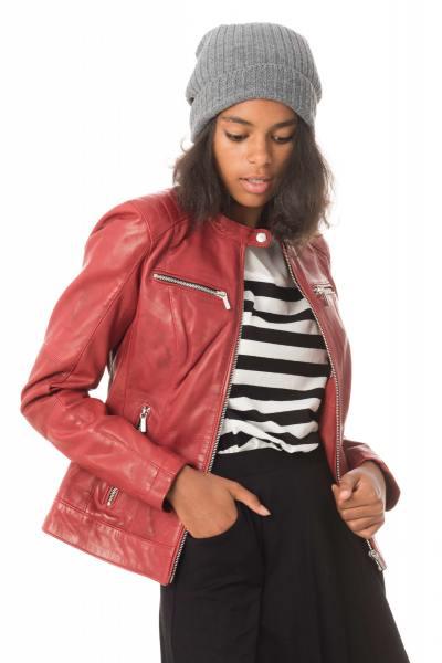 Blouson col motard femme en cuir rouge              title=