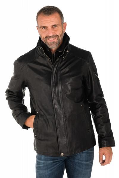 Veste homme daytona en cuir d'agneau noir              title=