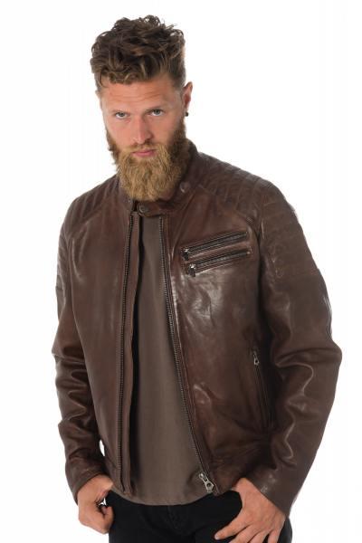 Blouson en cuir d'agneau marron vieilli              title=