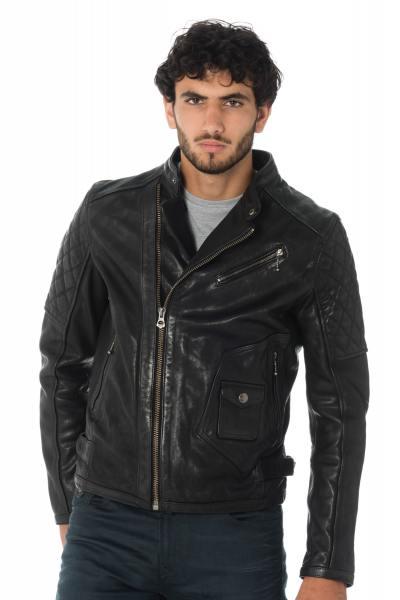 Blouson motard homme en cuir de vachette noire              title=