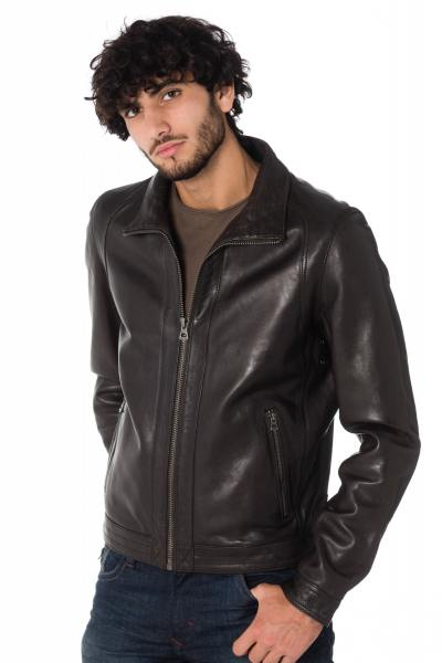 Dunkelbraune Daytona Herren Lederjacke GLOBE SHEEP BROWN              title=