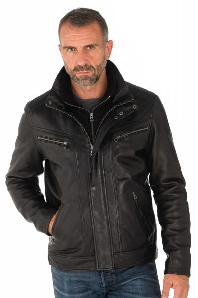 Schwarze Herren Lammleder-Jacke von Daytona mit hohen Kragen