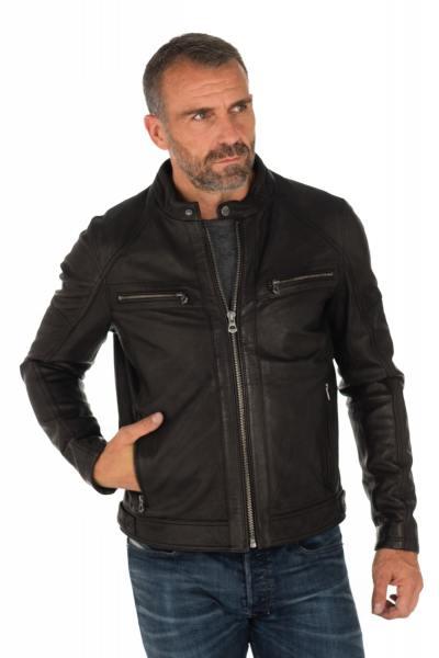 Blouson col motard homme en cuir d'agneau               title=