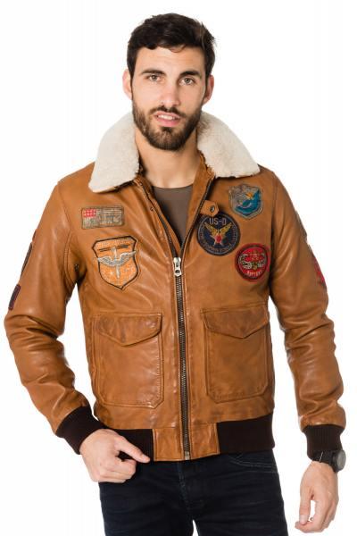Aviateur pour Homme en cuir Daytona Cognac              title=