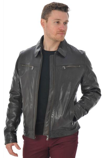 Jacke mit Hemdkragen aus Lammleder