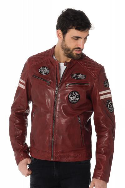Blouson cuir motard avec patchs et bandes              title=