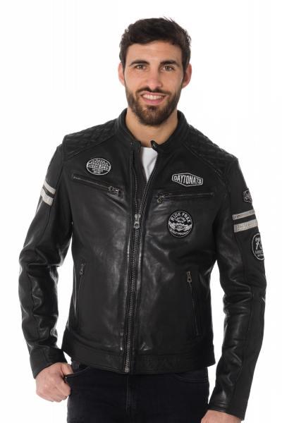 Blouson en cuir noir motard avec patchs
