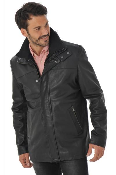 Manteau Daytona Homme en Cuir de Vachette Noir               title=
