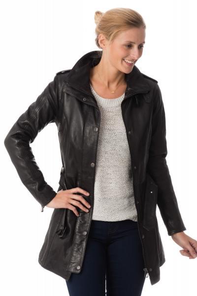 veste femme rose garden en cuir d'agneau noir