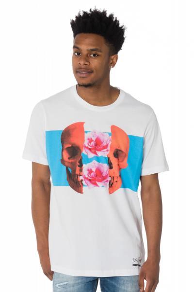 Herren-T-Shirt mit Totenkopf-Blumen-Print              title=