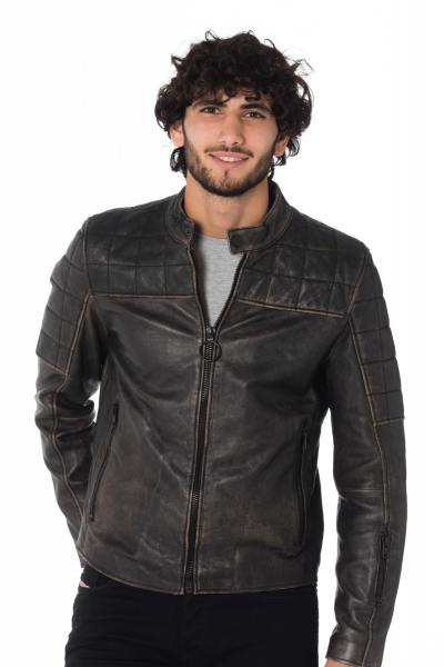 Blouson motard en cuir noir vieilli Gipsy              title=