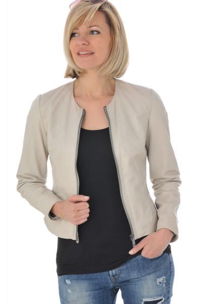 klassische Damenjacke aus weißem Leder              title=