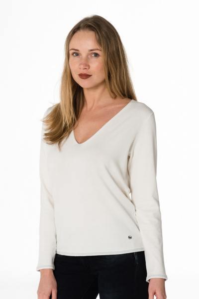 feiner weißer Damen Pullover mit V-Ausschnitt              title=
