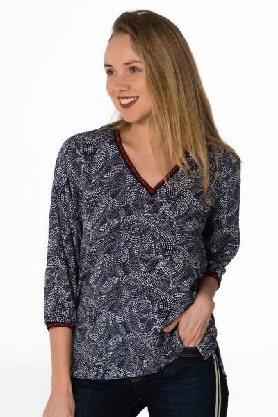 blaues Damen Shirt mit V-Ausschnitt und 3/4 Ärmel