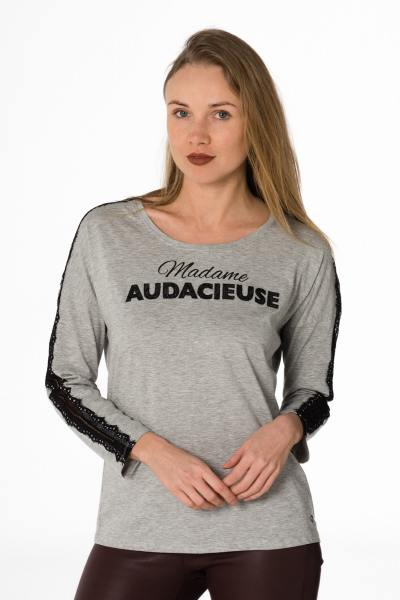 "graumelierter Damen Pullover ""Madame Audacieuse""              title="