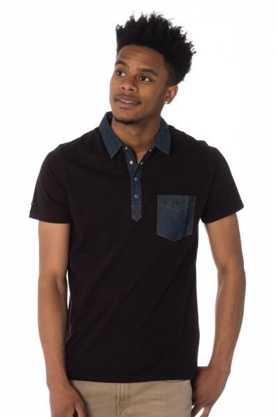 bordeauxfarben gestreiftes Herren-Polo-Shirt Kaporal