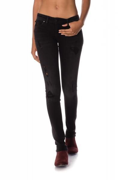 Jeans in Destroyed-Optik mit kleinen Plättchen