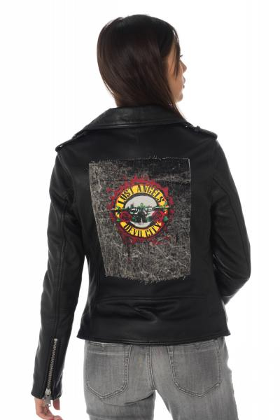 Damen Schafsleder-Jacke mit Jeans-Aufnäher auf dem Rücken              title=