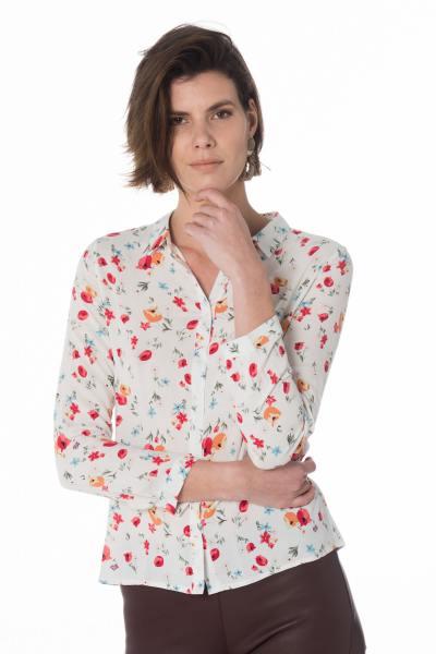 weiße Damen Bluse mit blumigen Muster              title=