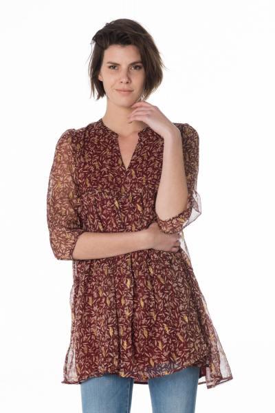 leichtes bordeauxrotes Damen Kleid mit goldenen Blättern              title=