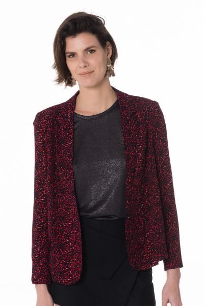 Veste rouge léopard femme              title=