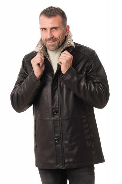 Veste homme en cuir d'agneau               title=