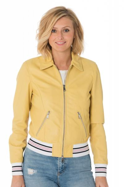Blouson sport femme en cuir de mouton jaune              title=