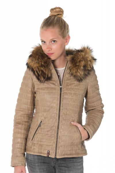 Doudoune femme Oakwood beige foncé en cuir de mouton              title=