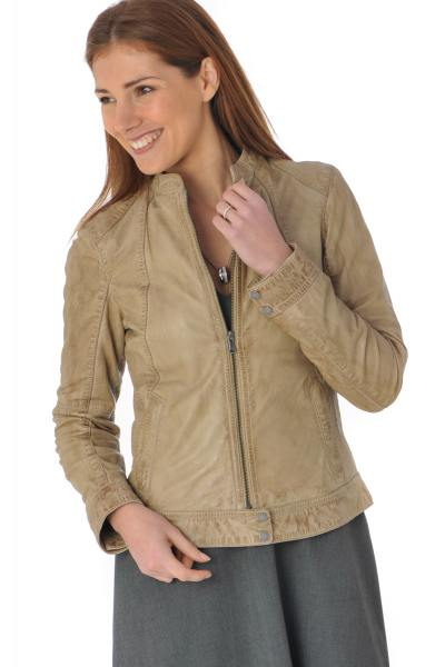 Blouson cuir féminin marron toffee              title=