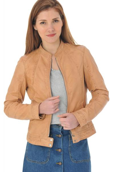 Blouson en cuir orange clair look moto              title=