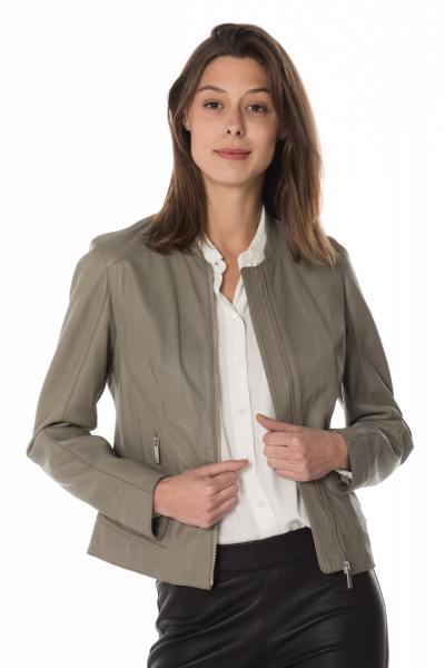 Blouson femme Oakwood en cuir gris              title=