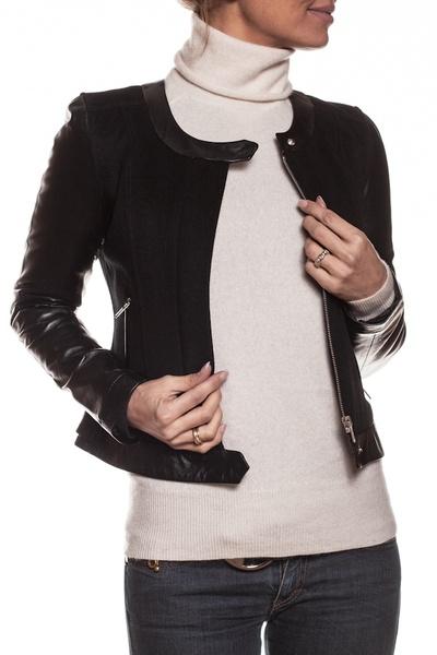 Blouson mixte cuir et textile femme              title=