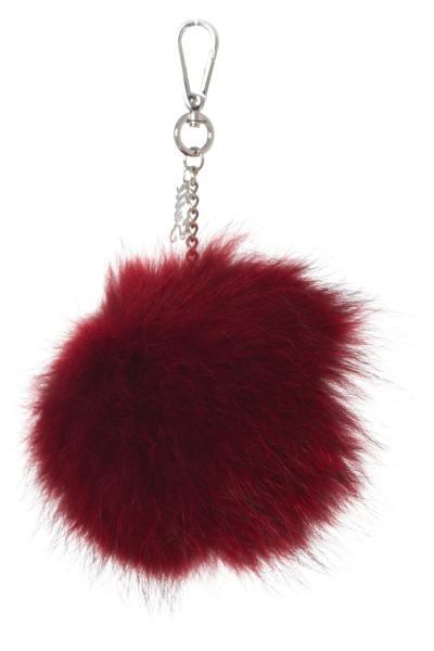 Porte clef en fourrrure de lapin rouge              title=