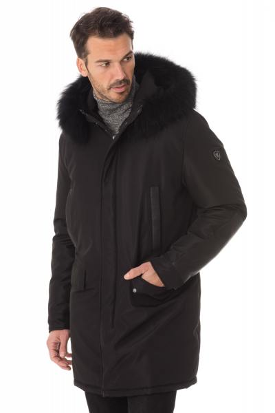 Manteau homme en polyester et cuir noir              title=