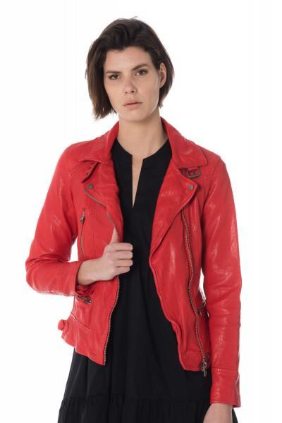 Perfecto en cuir rouge pour femme              title=