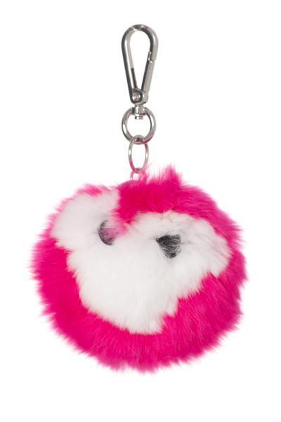 Porte clefs bicolore blanc et rose              title=