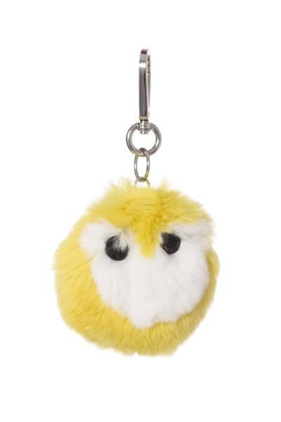 Porte clefs bicolore jaune et blanc              title=
