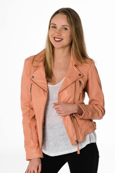 hell-orangene Damen Lederjacke im Stil Perfecto              title=