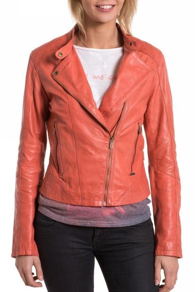 Blouson Femme Pepe Jeans couleur Coral en cuir              title=