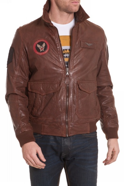Blouson Homme style aviateur en cuir de vachette pour Homme Cognac              title=