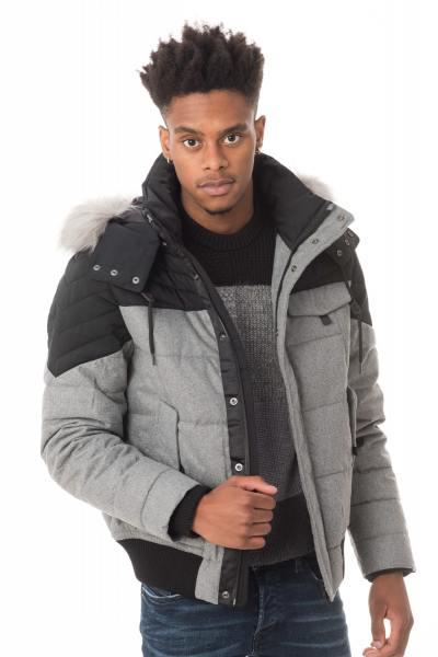 zweifarbige grau/schwarze Jacke mit Fellkragen              title=