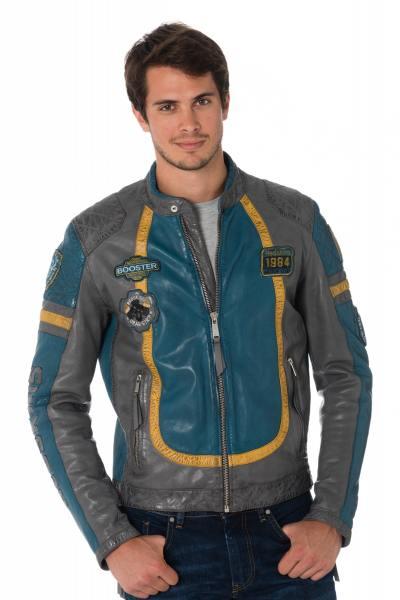 Blouson motard en cuir de mouton gris/bleu               title=