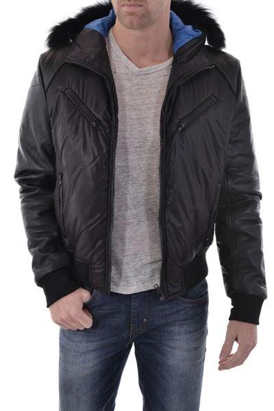 Blouson Redskins noir pour Homme Cuir/ Textile