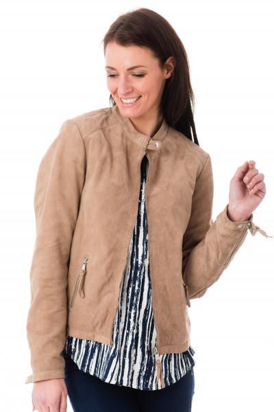 Blouson en cuir couleur taupe pour femme              title=
