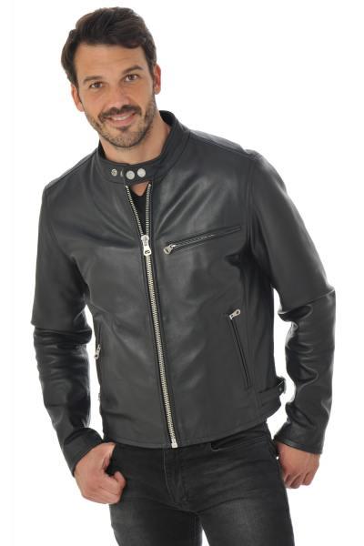 Blouson motard en cuir de vachette noir              title=