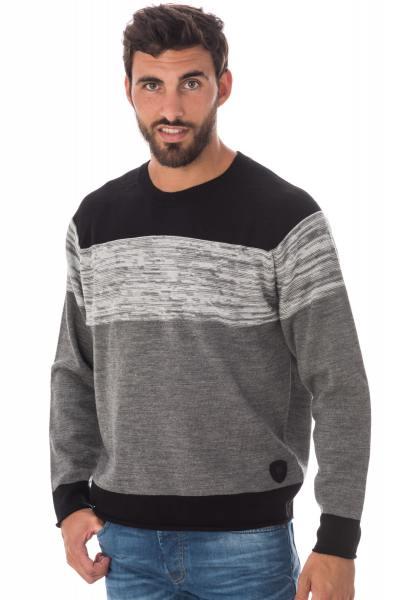 dreifarbiger Pullover -schwarz grau-weiß Redskins