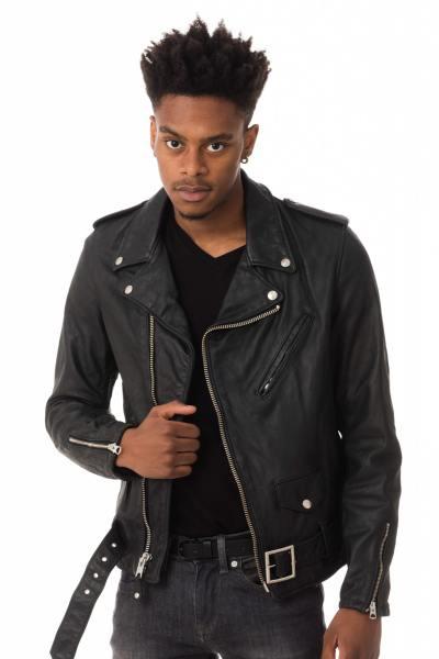Perfecto noir homme en cuir de vachette import US              title=