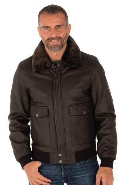 Blouson aviateur en cuir d'agneau marron Schott              title=