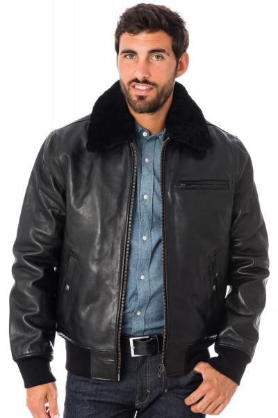 blouson aviateur en cuir blouson pilote pour homme cuir city. Black Bedroom Furniture Sets. Home Design Ideas